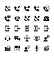 communication and phone icon set in flat style vector image