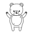 cute brown bear character cartoon thick line vector image vector image
