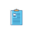 dentist medical history icon dentists notebook vector image vector image