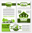 eco tourism and green travel templates vector image vector image