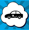 electric car sign black icon in bubble on vector image vector image
