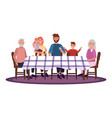 family in table vector image