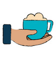 hand with coffee cup isolated icon vector image
