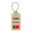 hang tag made in portugal with flag icon isolated vector image vector image