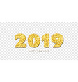 happy new year card gold number 2019 with text vector image vector image