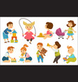 kids children playing toys and games on playground vector image vector image