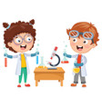 kids having chemistry lesson vector image vector image