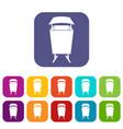 Litter waste bin icons set flat vector image