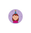 little girl with hat party detailed style icon vector image vector image