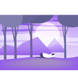 minimalist landscape trees sea boat isolated vector image