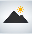 mountains on the sun icon isolated on white vector image