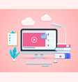 online education concept in 3d style vector image