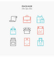 package gift box thin line color icons set vector image