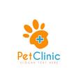 pet medical clinic health design logo vector image vector image