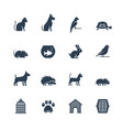 pets related icon set in glyph style vector image