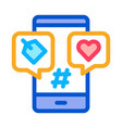 phone heart label icon outline vector image