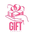 pink and white graphic gift box logo templates vector image vector image
