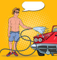 Pop art smiling man washing his classic car
