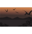 pterodactyl fly at the night scenery vector image vector image
