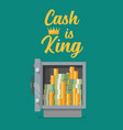 safe full money with text cash is king vector image vector image