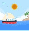 sea boat sun island blue sky background ima vector image vector image