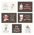 set of winter postcards with quotes and phrases vector image vector image