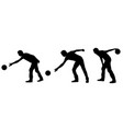 silhouettes of people bowling vector image vector image