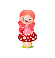 smiling red hair fairy girl stay on forest vector image vector image