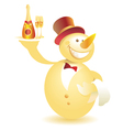 Snowman-waiter with champagne gold vector image