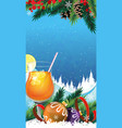 Tropical cocktail on a winter background vector image vector image