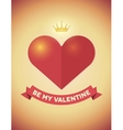 Vintage Valentines Day card with heart crown and vector image vector image