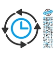 Wayback Clock Flat Icon With Bonus vector image