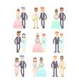 wedding couples set of flat characters vector image