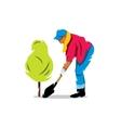 Woman plants a tree Gardening Cartoon vector image