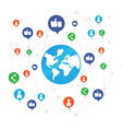 World connection with like and share icon on white vector image vector image