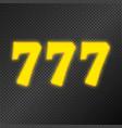 777 jackpot gold neon vector image