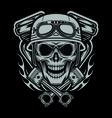 Riders Skulls With Machine and Piston Head vector image