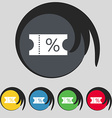 ticket discount icon sign Symbol on five colored vector image