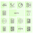 14 math icons vector image vector image