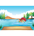 A girl swimming at the sea vector image vector image