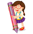 A girl with pencil vector | Price: 1 Credit (USD $1)