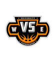 basketball vs sports logo emblem vector image vector image