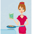 Beautiful woman frying with cooking book in the vector image vector image