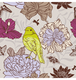 bird and insect seamless floral pattern vector image
