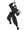 black ninja attack vector image vector image