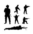 black silhouettes of american soldiers usa army vector image