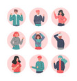 boys and girls showing hand sign gestures set vector image vector image