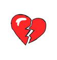 broken heart logotype closeup vector image