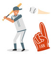 cartoon baseball player icons batting vector image vector image