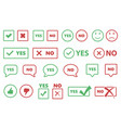check box icons yes or no signs tick and cross vector image